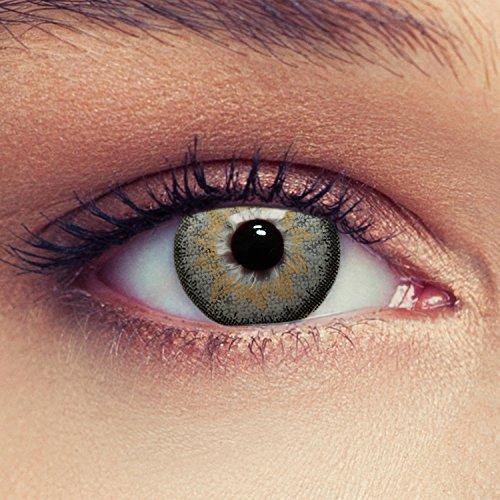 Designlenses 2 Graue Kontaktlinsen mit Stärke Drei Monatslinsen für einen natürlichen Effekt, geeignet für dunkle Augen + Gratis Behälter