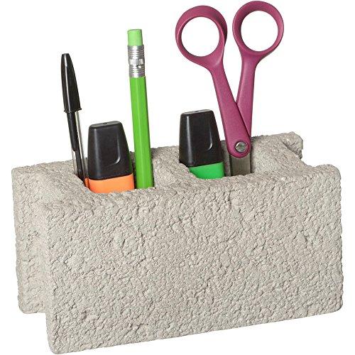 La Chaise Longue 36-2F-021 Pot à Crayons Brique Parpaing Béton Gris 2 Compartiments Grand Modèle H8,1 x 8,5 x 17,1 cm