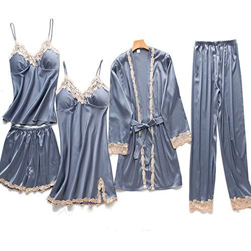 Ropa de Dormir de satén para Mujer Pijamas de 5 Piezas Pijamas de Encaje Ropa para el hogar Traje de Pijama