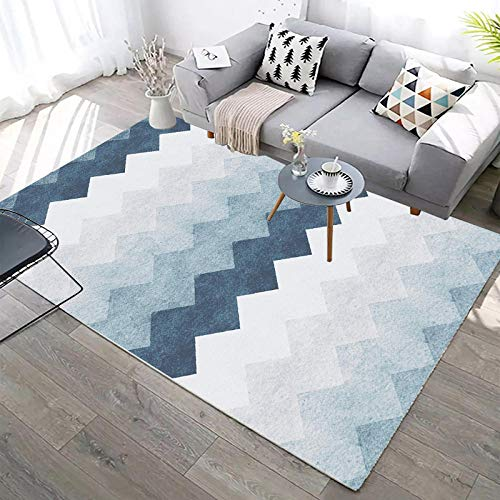YCMXMY Rug Cozy Shag Collection,Pile Shag Rugs Blue Gradient Wave Carpet Contemporary Living & Bedroom,Soft Shaggy Area Rug 180X280Cm(6Ft X 9Ft)