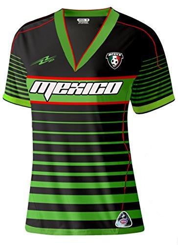 Mexico Slim - Camiseta de fútbol para mujer - Negro - Medium