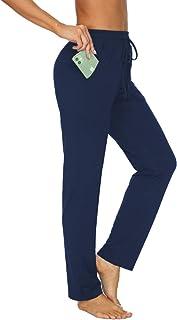 TARSE Womens Drawstring Sweatpants Stretch Straight Leg Yoga Workout Lounge Pants Pockets Trousers(Blue,L)