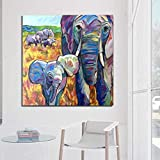 sanzangtang Leinwand drucken Poster Bunte Elefant Wandkunst