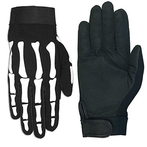 Hot Leathers – Guantes mecánicos con diseño de Esqueleto, Negro, Mediano