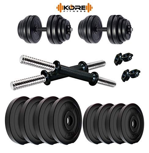 Kore 20 KG PVC-DM 16 (3kg X 4 Plates + 2kg X 4 Plates) Home Gym Dumbbells Kit