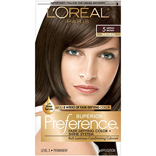 L'Oreal Paris Superior Preference Fade-Defying + Shine Permanent Hair Color, 5 Medium Brown, Pack of 1, Hair Dye