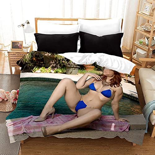 Conjunto De Ropa De Cama Sexy Bikini Azul Desnudo para Mujer Sexy Gran Cofre Belleza Funda Nórdica Suave Tamaño Doble (200X200Cm) Funda De Edredón 3 Piezas Niño Adolescente Adultos El Cómodo Juego De