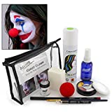 Graftobian Chaos Clown Makeup Kit - Complete 11 Piece Set for Joker Jester or Clown Halloween Costume - Full Color Instructions (Deluxe)