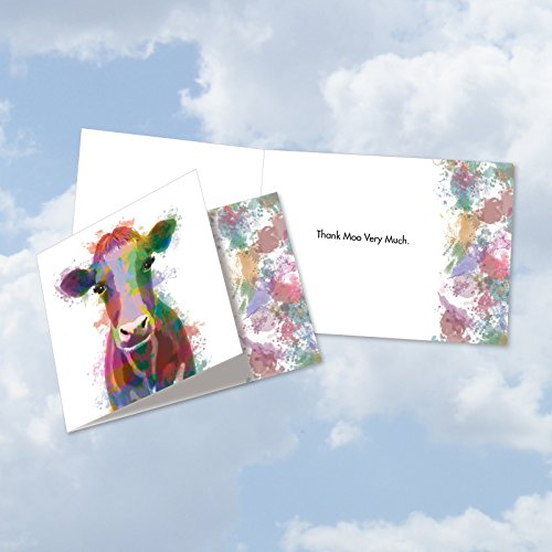 Cow Funky Rainbow Wildlife - Watercolor Painted Thank You Card with Envelope (4.8 x 6.6 Inch) - Funny and Colorful Gratitude Note Card - Cow, Animal Stationery Notecard CQ4948ETYG