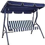BAKAJI Balancín de jardín de 3 plazas con techo parasol ajustable, estructura de acero y asiento de tela Oxford. Dimensiones: 170 x 110 x 153 cm (azul)