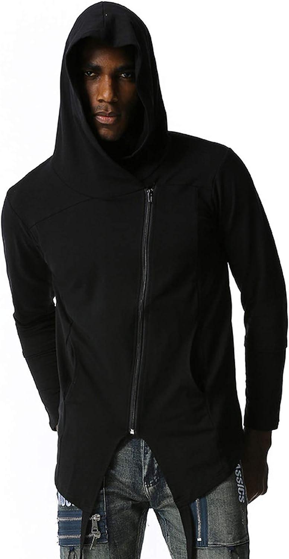 Mens Hip Hop Hoodies Oblique Zip Up Cotton Long Sleeve Casual Jackets