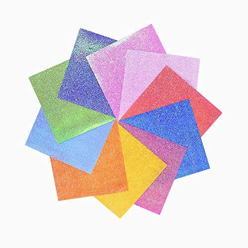 RMENOOR Juego de 50 hojas de papel para origami con purpurina, papel de origam, papel decorativo cuadrado para manualidades, accesorios de arte DIY (25 x 25 cm)