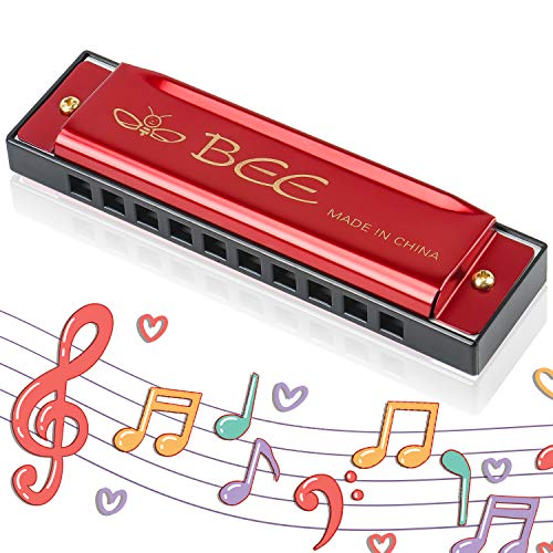 Armonica,Armonica Bocca,Fisarmonica Bocca,Blues Harmonica,Armonica 10 Fori,Armonica Bocca Professionale,Mini Rossa Armonica,Armonica Strumento Musicale
