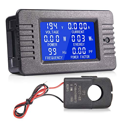 MICTUNING AC LCD Display Digital Multimeter Ammeter Voltmeter 80-260V 0-100A Current Voltage Power Energy Frequency Power Factor Meter with Split Core Current Transformer