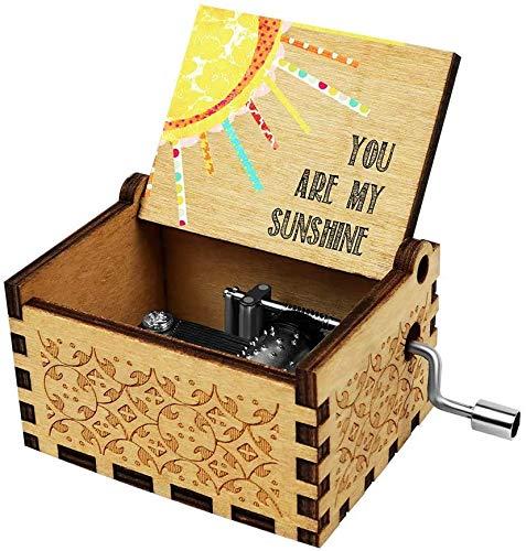 Freudlich 《You Are My Sunshine》 Cajas de música de Madera, Caja Musical de Madera Vintage grabada con láser Regalos para cumpleaños/Navidad/día de San Valentín (Color)