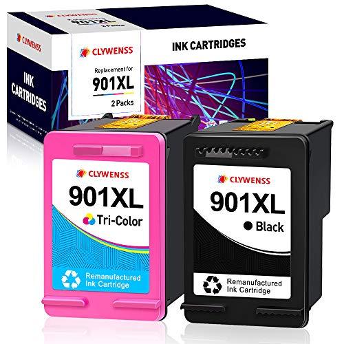 Clywenss Remanufactured HP 901XL 901 Cartuchos de tinta para HP Officejet 4500 J4500 J4560 J4580 J4680 J4600 J4524 J4540 J4585 J4624 J4640 HP Officejet g510 G5100 G510n