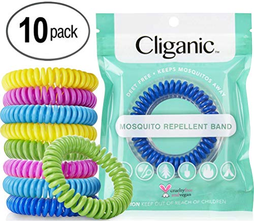 Cliganic 10 Pack Mosquito Repellent Bracelets, 100% Natural   Bug & Insect Protection, Waterproof DEET-Free Band   Pest Control for Kids & Adults