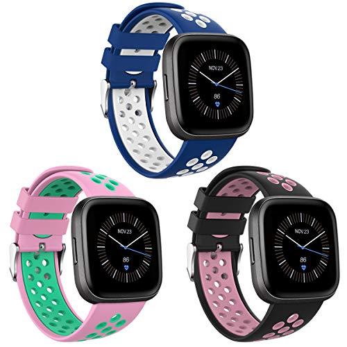 Onedream Compatibile per Fitbit Versa/Versa Lite/Versa 2 Cinturino Donne Uomini, Sportivo Regolabile Bracciale Compatibile per Fitbit Versa/Versa 2/ Versa Lite/Versa Special Edition 3 Pack