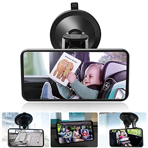DAMIGRAM Espejo Retrovisor de Bebé, 360° Ajustable Irrompible Interior Espejo, Universal de Coche Asiento Trasero Vista Espejo de Seguridad, Ajuste universal Espejo Coche Bebe