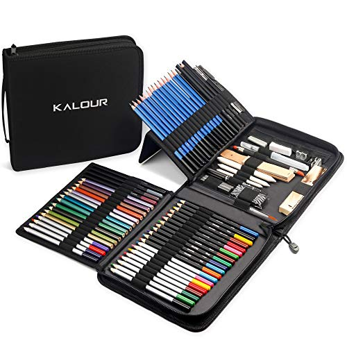 Kalour Professional Drawing Kit(83 Pieces),Beginner or Professional Tool Set - Colored,Watercolor,Graphite, and Charcoal Pencils in travel Case, Complete Drawing Supplies for Adults Kids Beginners