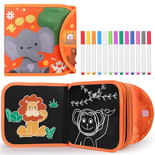 Gamenote Erasable Doodle Book - Kids Travel Activities Toys Portable Drawing Pad Painting Set for Airplane Car Game Road Trip