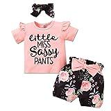 Little Miss Sassy Pants Outfit Toddler Girl Ruffled Shirt Floral Shorts Headband Pink