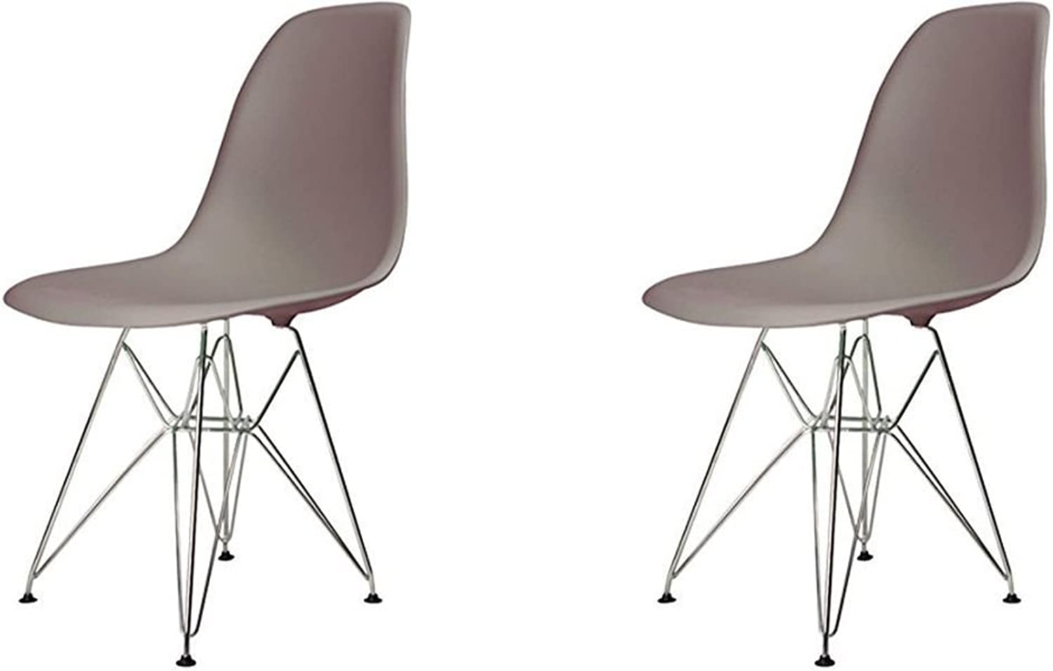 Meubles House S2-PC-0116-T Eames Style Side Chair-Modern Eiffel Style Adult Dining Chrome Metal Base-Taupe (Set of Two)