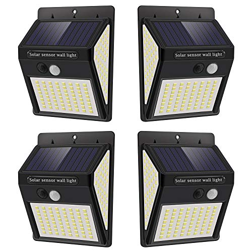 Luz Solar Exterior con Sensor de Movimiento, Luces 144 LED Solares Exteriore, 3 Modos, 270º lluminación Focos Solares Exterior Impermeable Aplique Lampara Solar para Exterior Jardin (4pack)