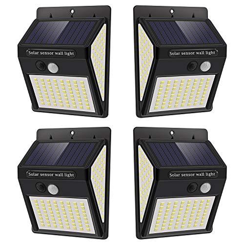 Luz Solar Exterior con Sensor de Movimiento, Luces 144 LED Solares Exteriore, 3 Modos, 270º lluminación Focos Solares Exterior Impermeable Aplique Lampara Solar para Exterior Jardin【4 Pack】