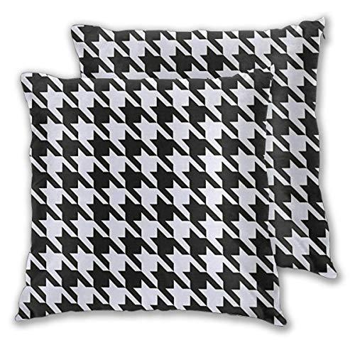 Desing shop Kissenbezug Schwarz Weiß Hahnentritt Quadrat Kissenbezug Standard Kissenbezug Home Dekorativ für Sofa Sessel Schlafzimmer Wohnzimmer 18x18in