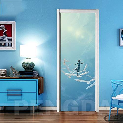 Fantxzcy Türaufkleber mit 3D-Effekt Sky Sunshine Girl weiße Taube 30.3x78.7 inch 3D-Wandaufkleber DIY Art Decal, selbstklebende Dekoration für Wohnzimmer Schlafzimmer Wanddekoration