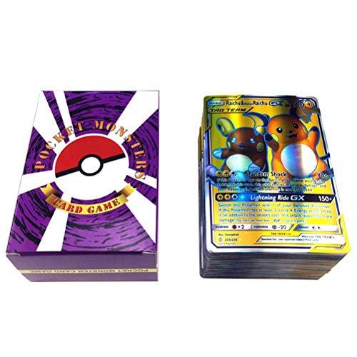 Cartas Pokemon GX Trading Cards, Juegos de Cartas Pokemon para niños, Juego de Cartas Pokemon de 120 Piezas con 80 Cartas Pokemon Tag Teams, 20 Mega Cards y 20 GX Cards