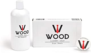 Laundry Detergent Liquid, Dryer Sheets, and Travel Freshener with Sandalwood Citrus Scent (3 Piece Bundle) by Wood Laundry Soap
