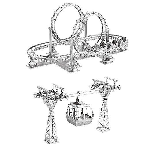 MTU 2pcs 3D Metall Puzzle Achterbahn Cable Cars Modell DIY 3D Laserschnitt Modell-Bausatz Spielzeug
