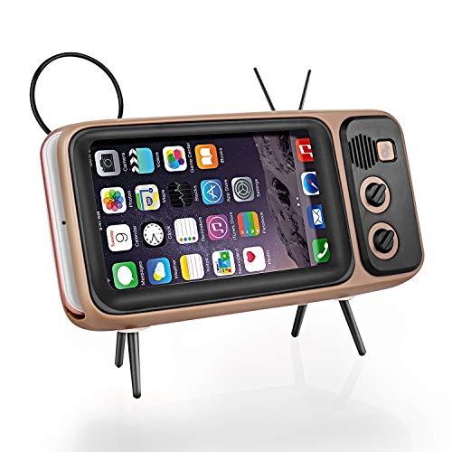 Altavoz Bluetooth retro, altavoz estéreo portátil con forma de TV como función de soporte para teléfono móvil, micro USB y batería integrada, compatible con iPhone, Android teléfono inteligente