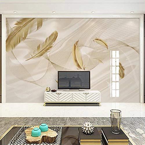 Msrahves papel pintado para pared Dorado moda plumas Papel Pintado Fotográfico Fleece no-trenzado Salón Dormitorio Despacho Pasillo Decoración murales decoración de paredes moderna
