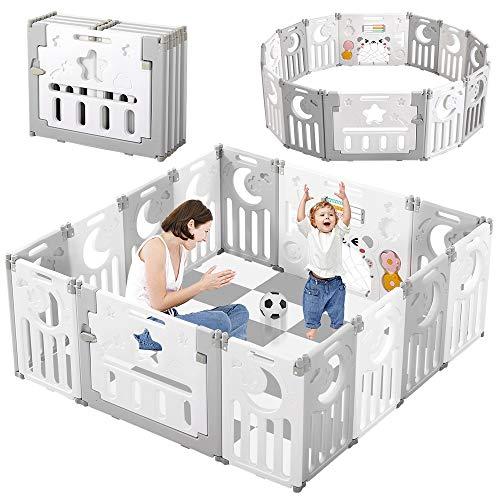 Dripex Laufgitter Laufstall Baby Absperrgitter 14-Paneele Schutzgitter Krabbelgitter fr Kinder aus Kunststoff mit Tr und Spielzeugboard