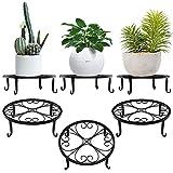 Lewondr Soporte para Macetas de Plantas de Hierro, [3 Unidades] Estante Redondo de Metal Duradero con el Diseño en Forma de Corazón, Ideal para Decoración para Interiores y Exteriores – Negro