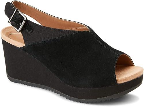 Vionic Wohommes Hoola Trixie Wedge - Ladies Concealed Orthotic Support Platform Sandal noir 7.5 M US