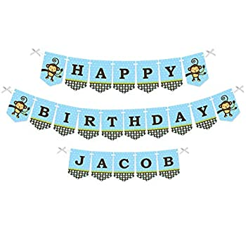 Big Dot of Happiness Custom Blue Monkey Boy - Personalized Birthday Party Bunting Banner & Decorations - Happy Birthday Custom Name Banner