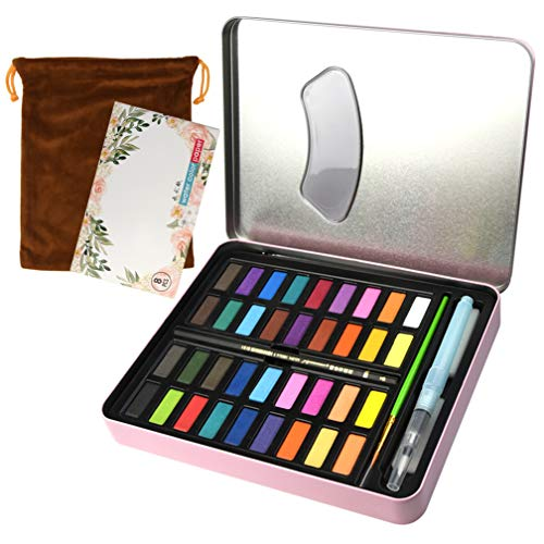 36 Vibrant Colors Watercolor Set, Lystaii Watercolor Paint Kit Include Watercolor Paper, Brush, Portable Watercolor Pan Set for Kids Adults Painting, Coloring, Artist Gift Travel Case and Bag