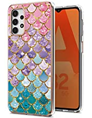 TYWZ IMD Design Anti-Yellow Case Cover voor Samsung Galaxy A32 4G, Slanke schokbestendige zachte rubberen siliconen beschermhoes voor vrouwen meisjes-kleurrijke visschalen