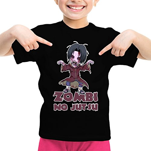 T-Shirt Enfant Fille Noir Naruto - Walking Dead parodique Itachi X Walking Dead : Zombi no Jutsu !! (Parodie Naruto - Walking Dead)