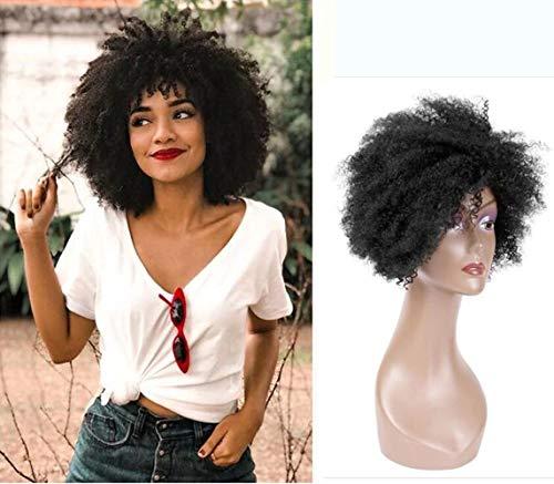 """Queentas 8 """"# 1B Korte Afro Kinky Curly Human Hair Pruiken met een gratis haarnetje voor dames (Natural Curls)"""