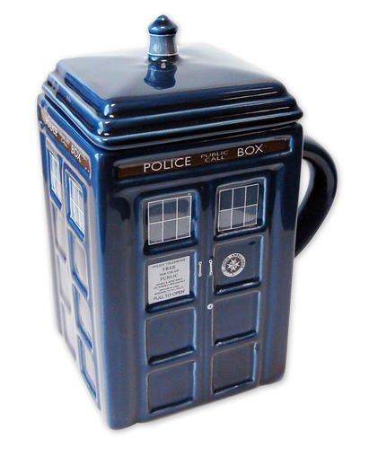 Doctor Who Tasse Tardis aus Keramik, mit Deckel - Farbe: Blau.