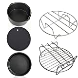 5 in 1 Multifunctional Air Fryer Accessories Kit Fryer Accessories Set Air Fryer Accessories Parts Cake Basket Pizza Tray Potholder Metal holder Grilled Rack
