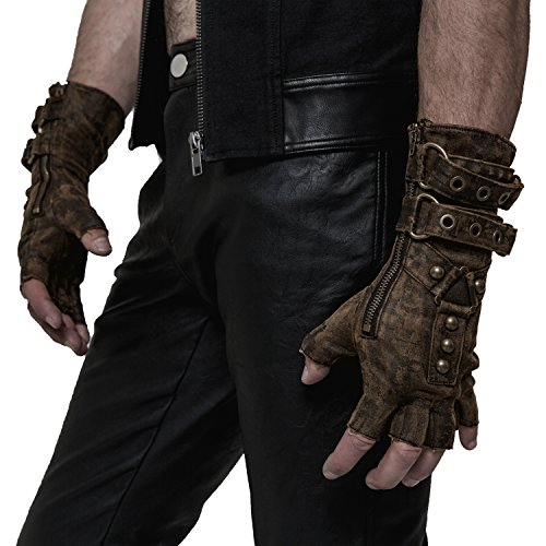 Punk Rave Steampunk Fingerless Motorcycle Faux Leather Gloves for Men Accessories Coffee S-L