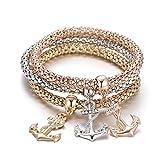 Bracciale elasticizzato da donna, bracciale rigido da ancoraggio Bracciale rigido da amuleto a catena di mais con cristallo (Mescola colore)