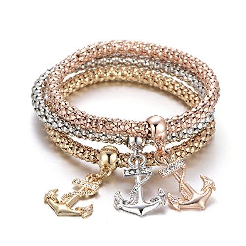 Frauen Charm Armband, Anker Anhänger Armband Stretch Mais Kette Armreif Freundschaft Manschette Armband für Mädchen mit CZ Crystal (Mehrere Farben)