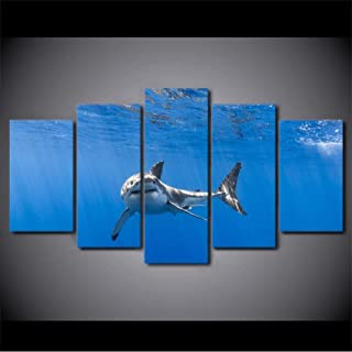 Lijome Printed Modular 5 Piece Cuadros Art Shark In Ocen Decor Painting Canvas Wall Pictures For Living Room Witartwork
